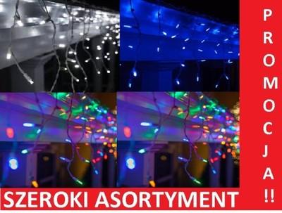 Lampki Sople Zewnętrzne Niebieskie Białe 300 Led