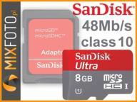 Karta SanDisk Micro SDHC 8GB Class10 ULTRA 48MB/s