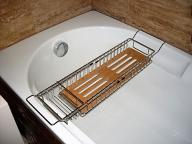 Półka łazienkowa na WANNE chrom z bambusem GALEDO