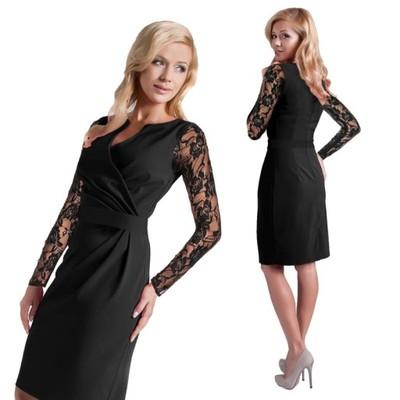 26f15be6a9 Wizytowa Czarna Sukienka Koronkowe Rękawy R 54 - 7023257658 ...