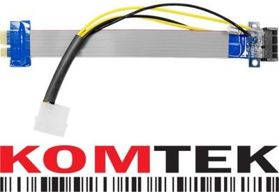 Riser przedłużacz PCI-E x1+molex Bitcoin Litecoin