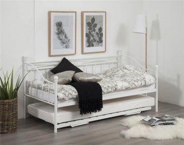 łóżko Prince Białe Rozkładane Metalowe 90 180 Modo