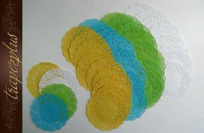 SERWETKI PAPIEROWE AŻUROWE 11 cm 5 szt - kolorowe