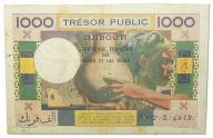 40.Fran.Somalia, 1 000 Franków 1974 rzadki,St.3/3+