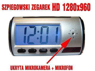 Rejestrator ZEGAREK kamera zapis SD detekcja AUDIO