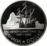 1 DOLAR 1987 KANADA -STATEK POLARNY DAVISA -STAN L