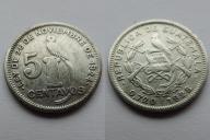 GUATEMALA 5 CENTAVOS 1924 SREBRO