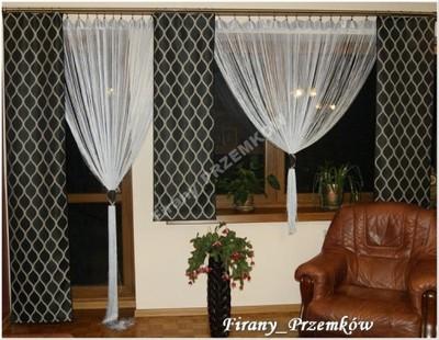 Firany Firanki Woal 3 Panele Makarony Balkon Kar4m