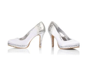b6dc8045 Buty ślubne BUTDAM białe srebrne satyna EXCLUSIVE - 6988575589 ...