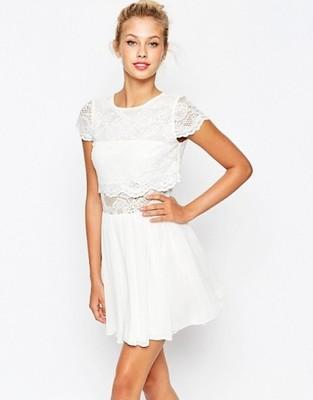 ASOS biała mini sukienka koronka crop top L 40 6748789212