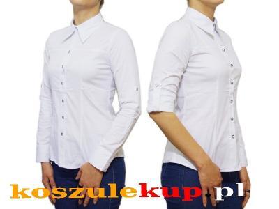 9c25190e868ea2 40/L Elegancka koszula damska biała taliowana SLIM - 4742334234 ...