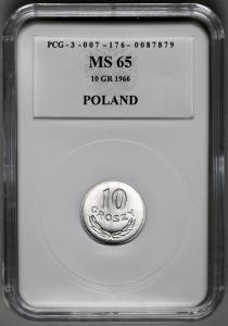 4554. 10 groszy 1966 w opakowaniu PCG