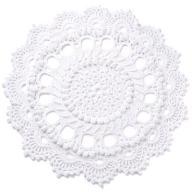 Dywan sznurkowy - kwiatek biały - śr. 135 cm