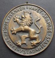 Stary Medal Ystad sygnowany bardzo cięzki (908)