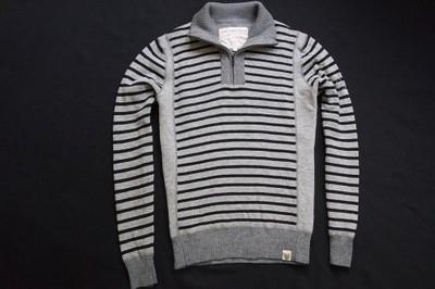 COTTONFIELD sweter sweterek szary paski wełna____S