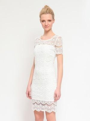 2d68437a61 Koronkowa sukienka na ślub cywilny gipiura M - 6851389073 ...