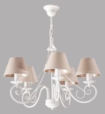 Lampa Shabby Chic Oświetlenie Biały żyrandol Len