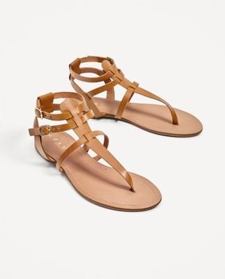 Zara Skórzane sandały gladiatorki cieliste 35