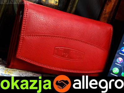 0f9319ef89604 Czerwony PORTFEL damski MONEY MAKER miękka SKÓRA ! - 5818961278 ...