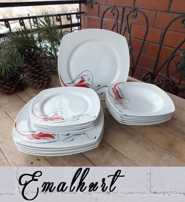 Serwis Komplet Obiadowy 18el Talerze Kwadratowe 6688402004