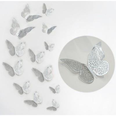Motylki Motyle Dekoracyjne 3d ślub 12szt Srebrne