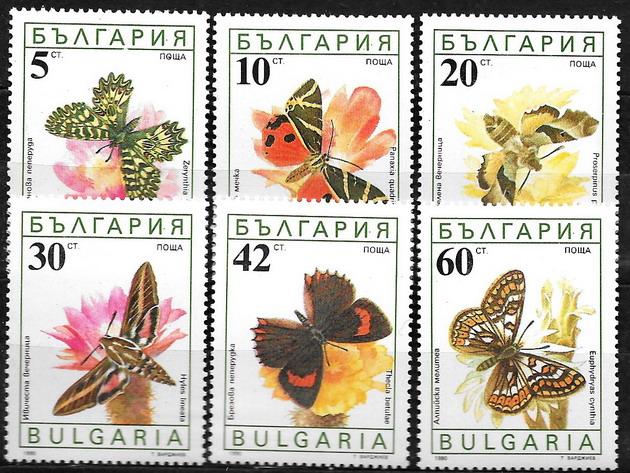 Bułgaria czysta seria Mi 3852 - 3857 super motyle.