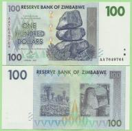 Zimbabwe , 100 Dollars 2007 , P69 , stan I (UNC)