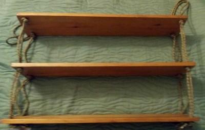 3 Półki Drewniane Wiszące Na Sznurach 70 Cm 6662733943