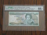 Karaiby Wsch. 5 Dollars 1988-93 PMG 66 !! Rzadszy!