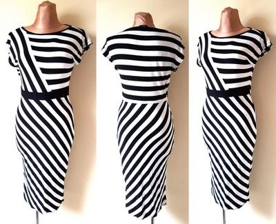 c0ad3696dd W Sukienka w paski ukośne biało czarna r 40 - 6770144189 - oficjalne ...