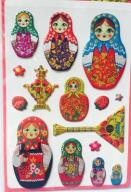 Naklejki matrioszki samowar z Rosji