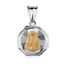 Srebrny medalik Matka Boska Częstochowska pozłacan