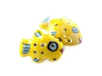 rybki porcelanowe żółte 13 x 18 mm - 1 sztuka qc