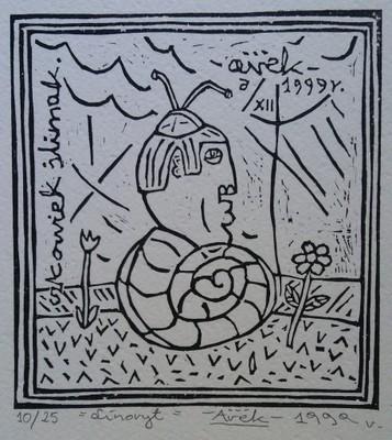 Człowiek ślimak. 13 x 14 cm. 1999 r. (linoryt)