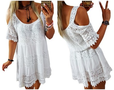 00fd678e E21 biała sukienka La Roca KORONKI BOHO summer - 6882025925 ...