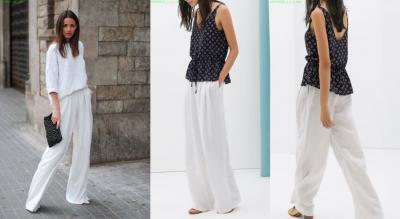 Spodnie białe szerokie luźne len lniane 36 S Zara