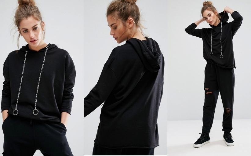 oversize czarna bluza damska