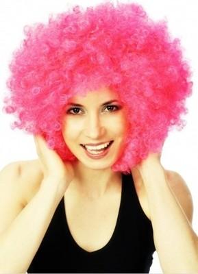 Peruka Afro różowa różowe Klauna Klaun Clown Mega