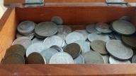 monety PRL w pięknej starej szkatulce; )