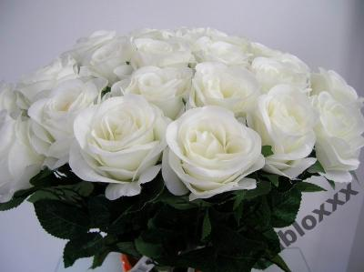Sztuczne Kwiaty Róża Róże Białe Gałązka Jak żywe 5928862403