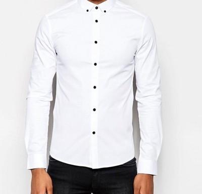 koszula  męska biała skinny slim czarne guziki XXS