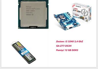 ZESTAW PC/HACKINTOSH GA-Z77-DS3H, i3 3240, 12GB