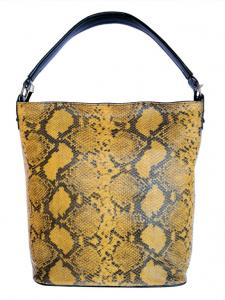 Skórzana torebka damska BNB skóra węża, żółta A4