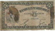 Martynika 5 francs 1942r b.rzadki