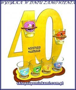 Kieliszki Prezent 40 Urodziny Stojak życzenia K M