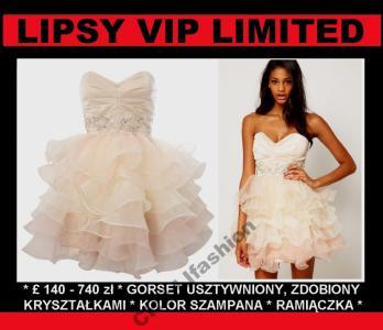 2d230f7243 LIPSY VIP Sukienka KRYSZTAŁKI FALBANY OMBRE 40 - 4859549301 ...