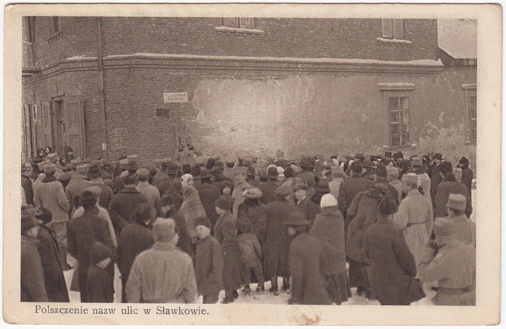 Sławków polszczenie nazw ulica tłum (1915)