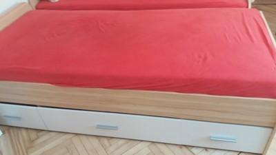 łóżko Młodzieżowe Z Szafkami Black Red White 6896950066