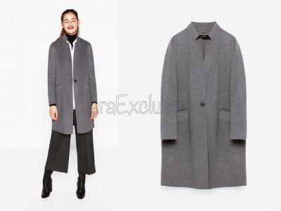 Wełniany płaszcz ZARA stójka szary wełna S 36 Zdjęcie na