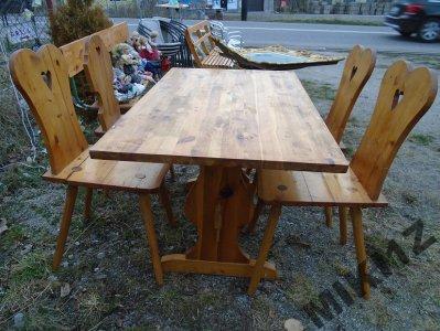 Wspaniały Masywny Stół Góralski i Cztery Krzesła - 6133803119 - oficjalne OY06